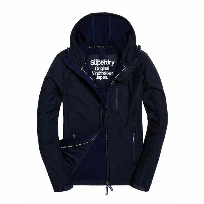 美國百分百【全新真品】Superdry 極度乾燥 風衣 連帽 軟殼 外套 防風 夾克 刷毛 全深藍 M號 H642