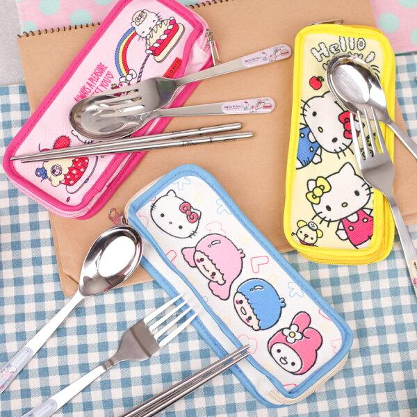 PGS7三麗鷗系列商品-三麗鷗KittyMelody雙子星三件式不銹鋼餐具【SEP80030】