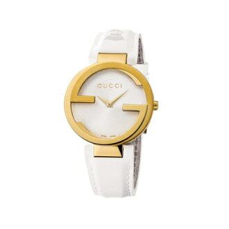 GUCCI Interlocking-G 流行時尚元素腕錶/白/YA133313