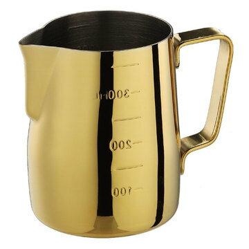 金時代書香咖啡  Tiamo 專業厚款附刻度標拉花杯  360ml  鍍鈦金  HC7089