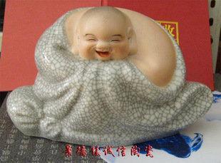 景德鎮瓷器工藝品 哈哈羅漢笑佛 雕塑開片藝術陶瓷 擺設送禮(1)