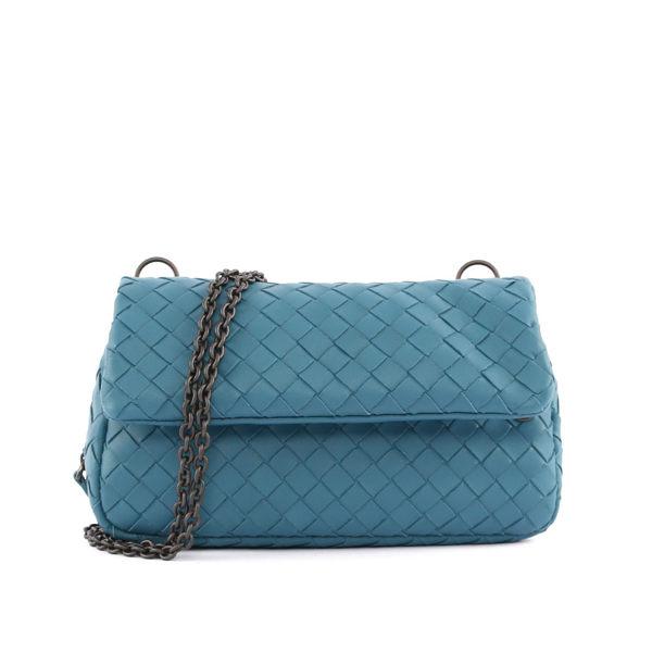【BOTTEGA VENETA】Nappa Messenger Bag小羊皮鍊帶編織 (蔚藍色) 310744 V0016 8597