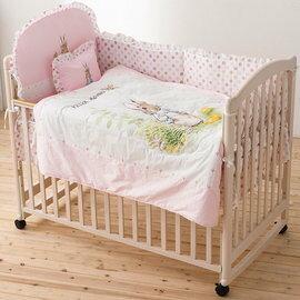 【淘氣寶寶】奇哥 Joie 典雅白色大床+比得兔六件床組L(粉)【百貨專櫃正品/奇哥公司貨】