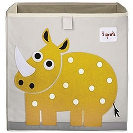 【淘氣寶寶】加拿大 3 Sprouts 收納箱-小犀牛【超大容量 收納箱,可摺疊,100%棉帆布手感柔軟耐抗污】【 貨● 】