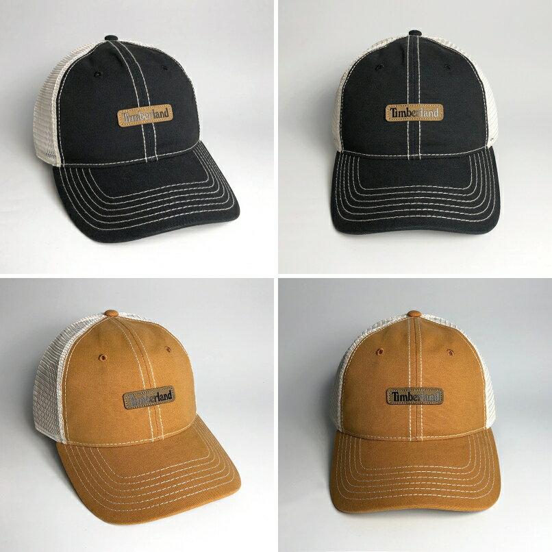 美國百分百【全新真品】Timberland 帽子 配件 老帽 棒球帽 網帽 鴨舌帽 皮革LOGO 駝色/黑色 AE87