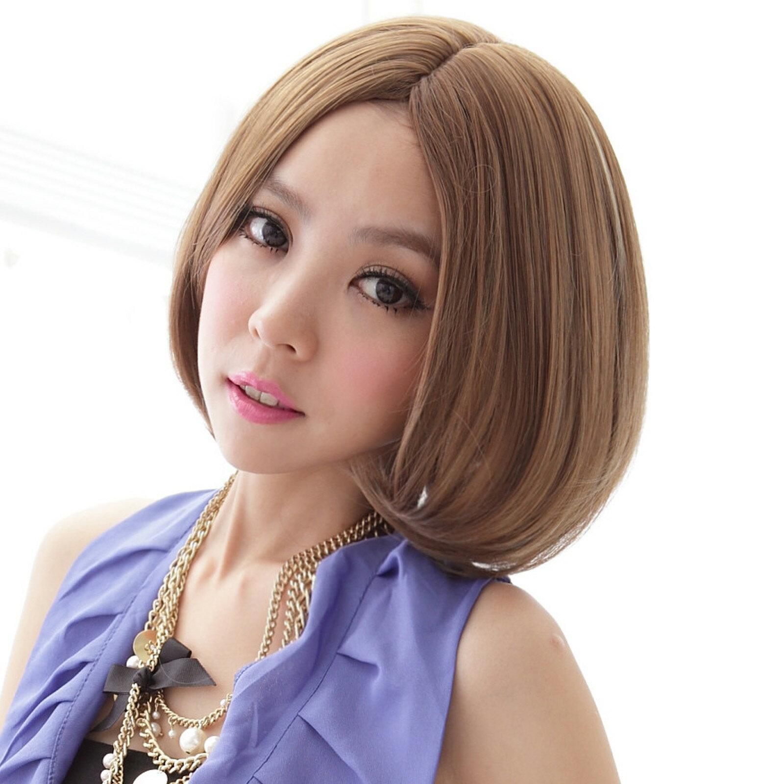 亞麻挑染性感中分短髮【MB021】高仿真超自然整頂假髮☆雙兒網☆