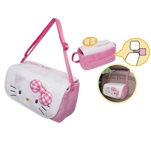 權世界@汽車用品 Hello Kitty Face系列 多功能面紙盒 套 掛袋 PKTD001P-07