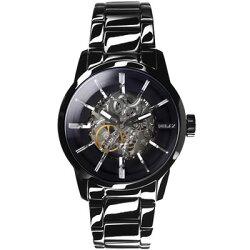 RELAX TIME鏤空機械腕錶-黑X銀(RT-38-1) 43mm
