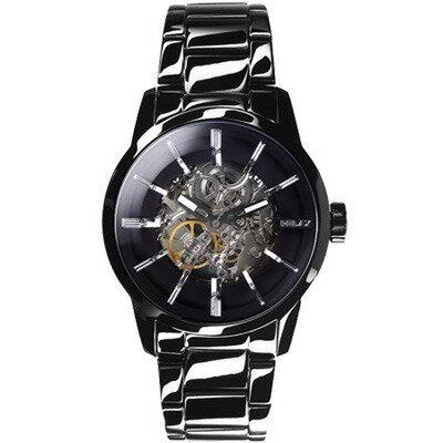 RELAXTIME鏤空機械腕錶-黑X銀(RT-38-1)43mm