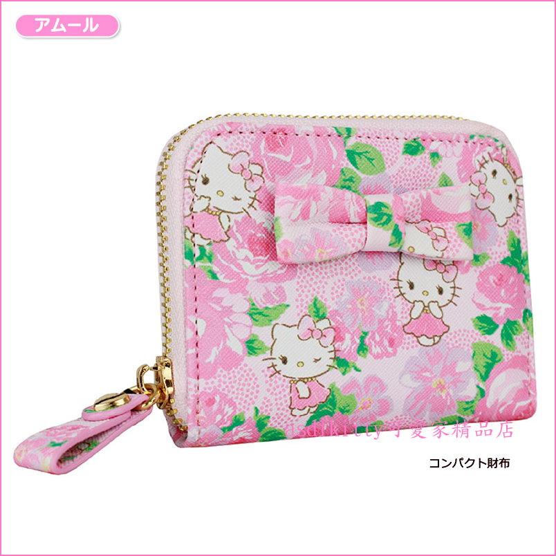 asdfkitty可愛家~KITTYx DEARISIMO 玫瑰緞帶拉鍊皮夾  短夾  錢