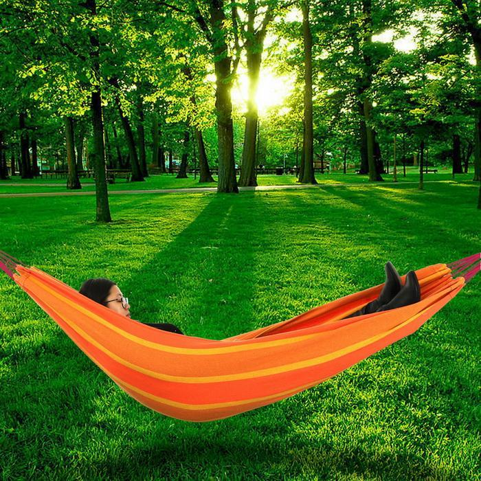 Double 2 Person Splicing Color Cotton Fabric Portable Hanging Indoor Outdoor Camping Hammock 4