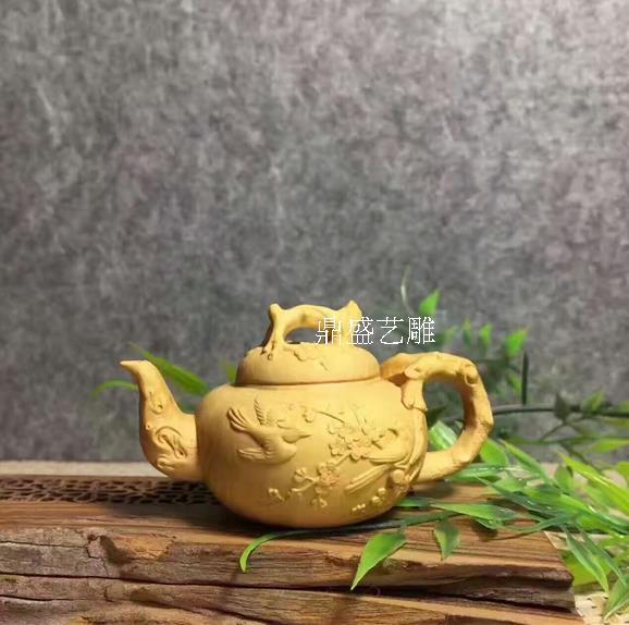 小葉黃楊木雕茶壺手把件 精雕實木工藝品擺件 茶寵車擺送禮佳品1入