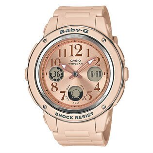 CASIOBABY-GBGA-150CP-4BPinkBeigeColor杏粉主題色雙顯流行腕錶42.8mm