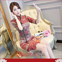 【水水女人國】~你的夏日~優雅中國風~紅色復古。復古原創雪紡印花時尚改良式修身顯瘦中袖俏麗魚尾裙旗袍洋裝