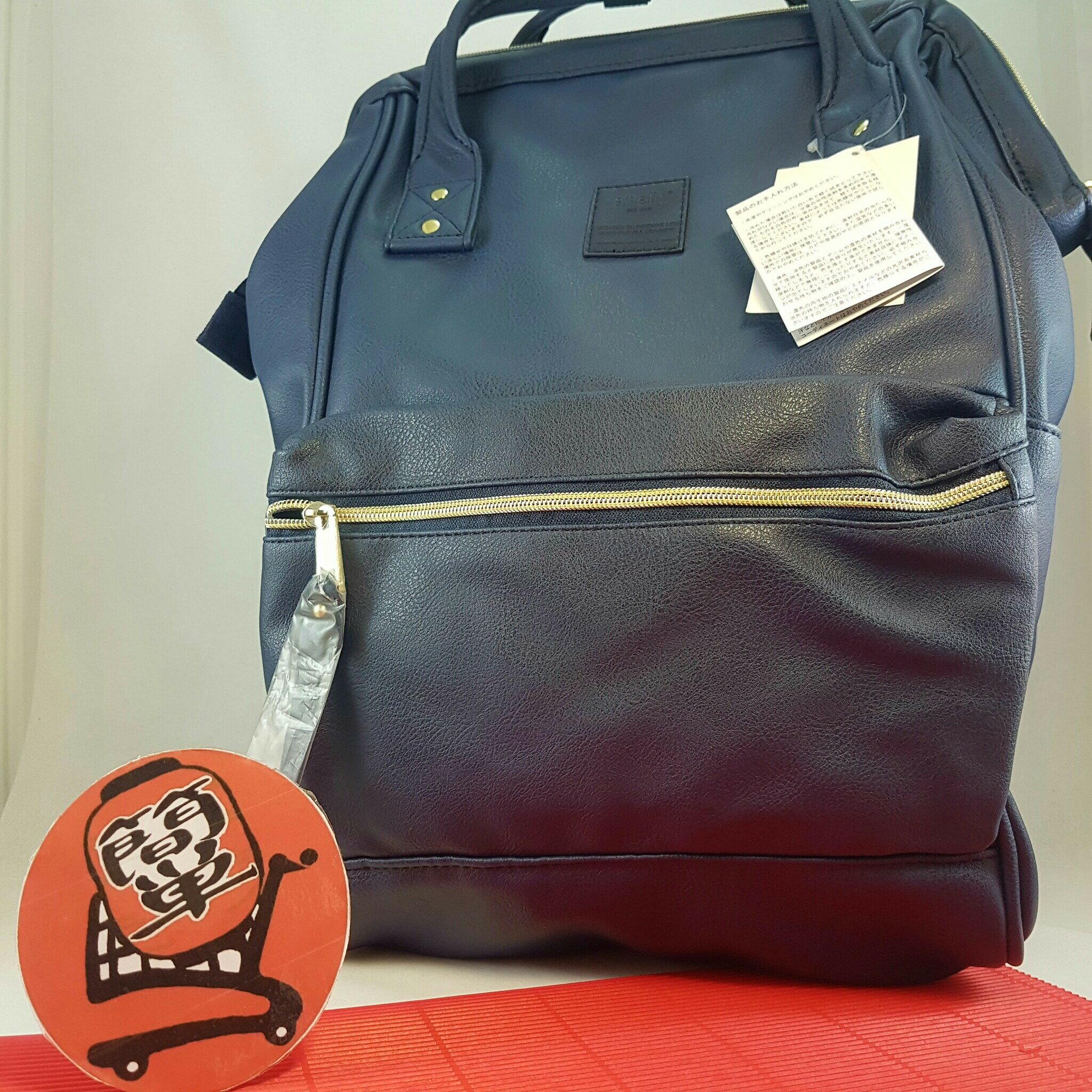 『簡?全球購』大款皮質 NA藍色 anello 新款 皮質大開口後背包 皮製2WAY手提包超便利寬口包