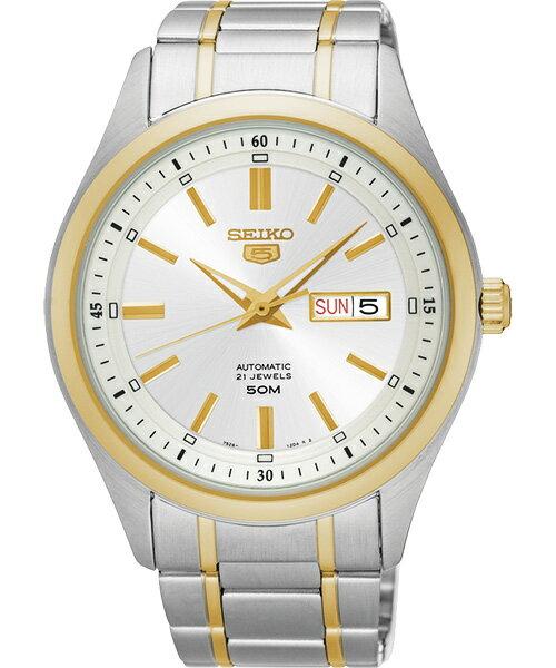 Seiko 精工五號 7S26-04M0K(SNKN92J1)雙色雙日曆腕錶/白面44mm