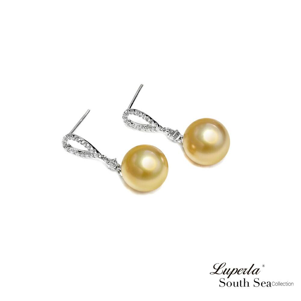 大東山珠寶 繽紛花園 南洋金珠頂級真鑽18K白金耳環 2