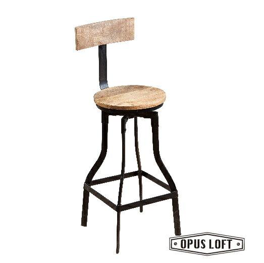 復古工業風原木靠背吧檯椅