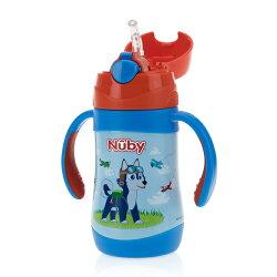 【Nuby】不鏽鋼真空學習杯細吸管280ml-領航犬