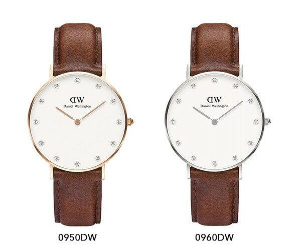 瑞典正品代購 Daniel Wellington 0960DW  銀 玫瑰金  真皮 錶帶 男女錶 手錶腕錶 34MM 1