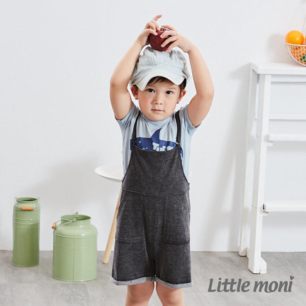 Little moni 針織牛仔吊帶褲-深麻灰 0