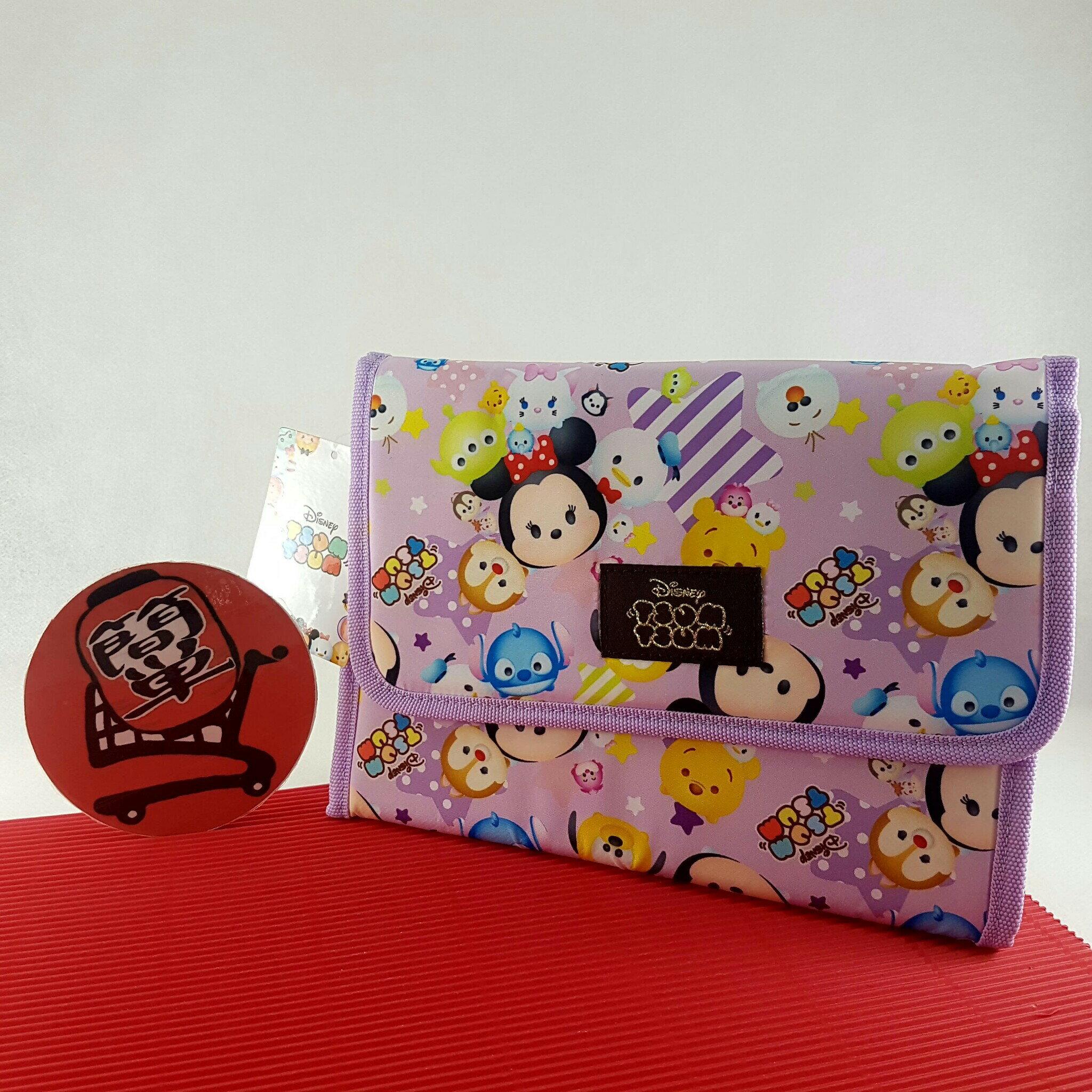 『簡?全球購』淡紫 迪士尼 Tsum Tsum 母子手冊包 寶寶健康手冊包