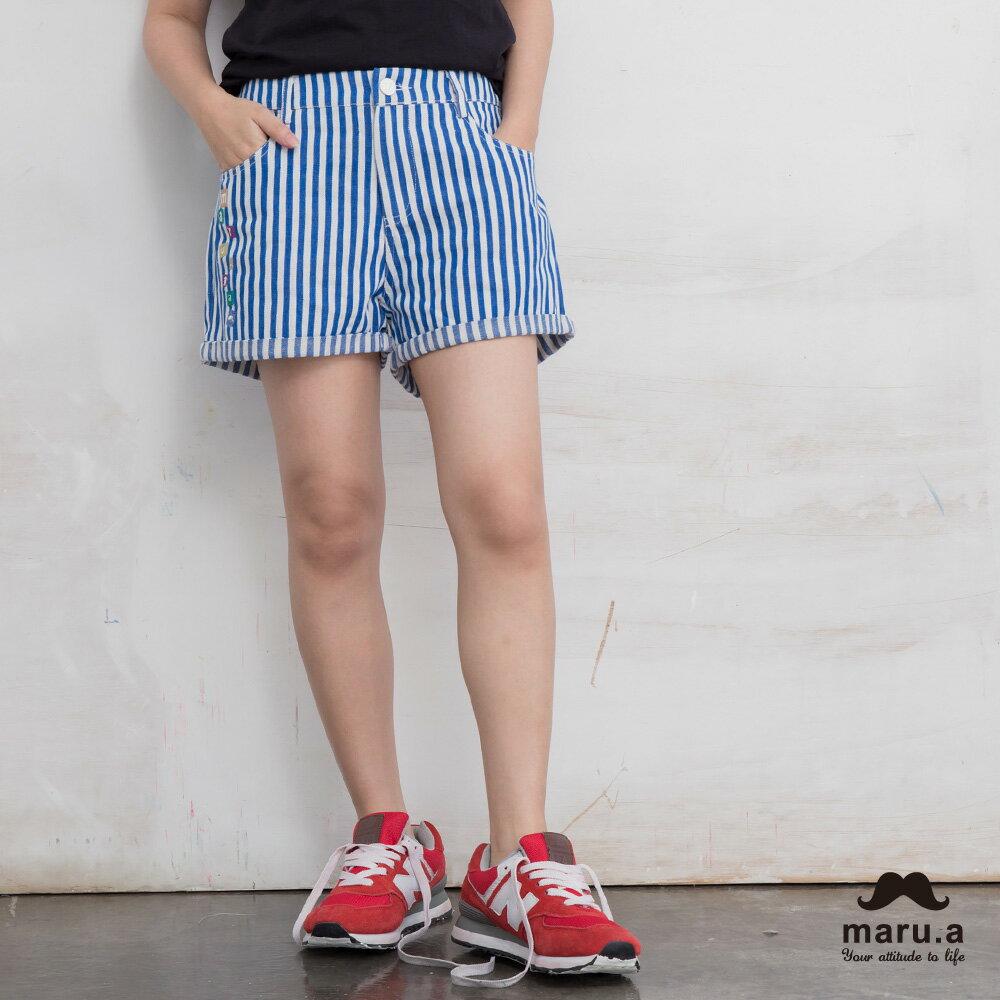 【maru.a】彩色方塊刺繡直條紋短褲(2色)7925112 8