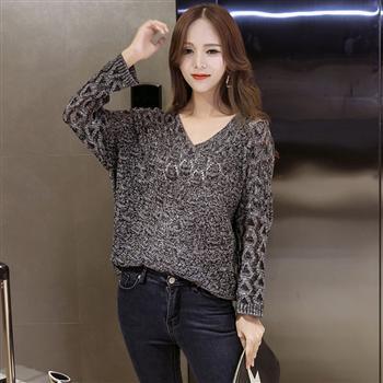 美麗大街~IR3891~甜美V領修身純色鏤空長袖針織衫毛衣 ~  好康折扣
