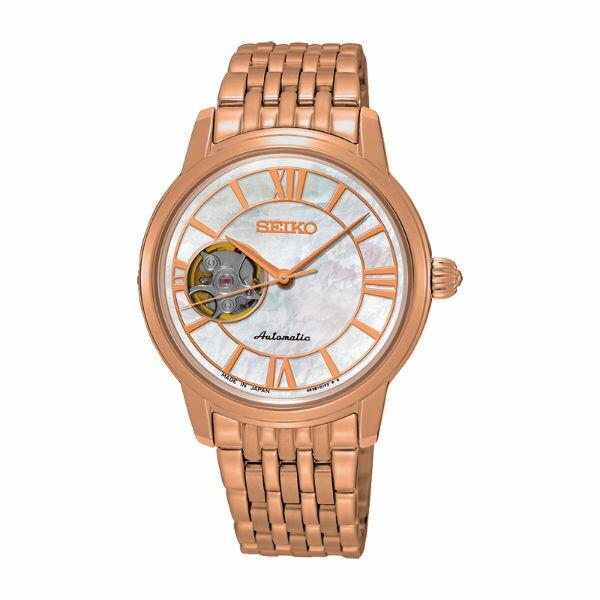 Seiko精工表Presage4R38-01B0G(SSA848J1)開芯羅馬機械腕錶-34mm玫瑰金