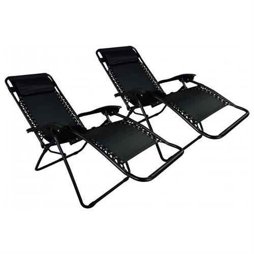 Set Of 2 Zero Gravity Outdoor Patio Chairs   Black 2
