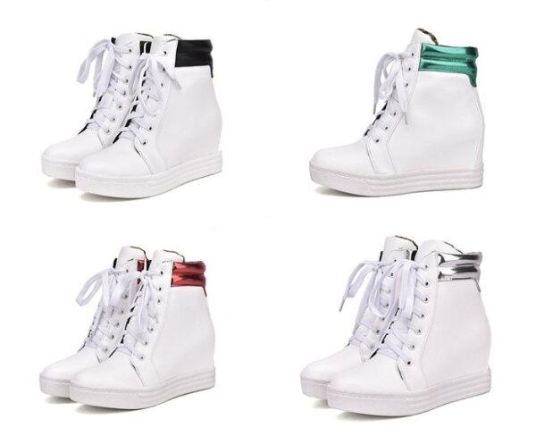 Pyf♥白色內增高筒球鞋素面休閒球鞋團體表演鞋4243大尺碼女鞋