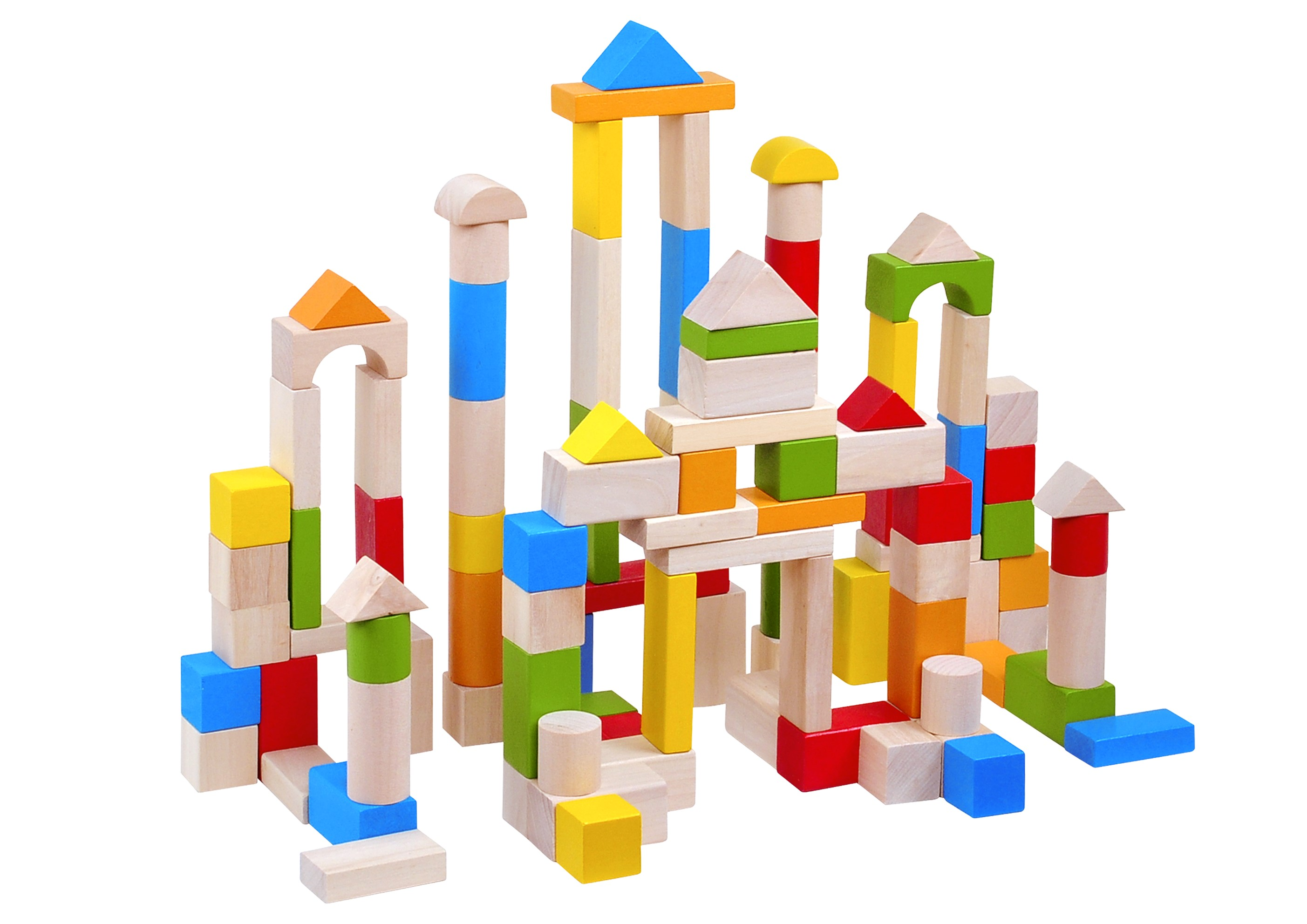 Toysters 100 Piece Wooden Colorful Classic Building Blocks Bpa Free Wood Block Set Game For Toddlers Interactive Stem Educational Toy Great For