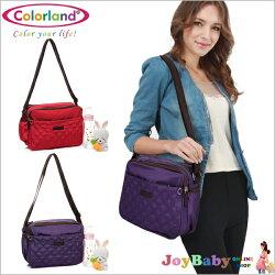 斜背媽媽包Colorland格紋空氣包肩背女包休閒包-JoyBaby