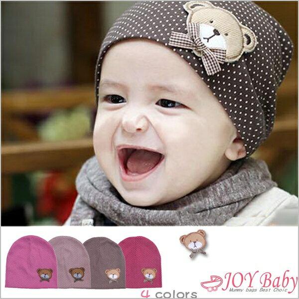 帽子/貼標帽/韓版秋冬兒童帽子卡通 可愛小熊貼標帽寶寶套頭帽嬰兒帽【JoyBaby】