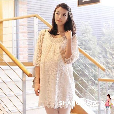 孕婦裝娃娃裝-韓版蕾絲七分袖洋裝長版襯衫上衣-JoyBaby