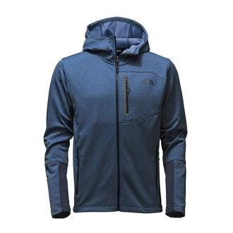 美國百分百【全新真品】The North Face 保暖防風 連帽 外套 TNF 類軟殼 夾克 藍灰 S號 I659