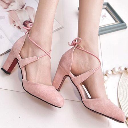 高跟鞋 甜美性感綁帶圓頭粗高跟鞋【S1574】☆雙兒網☆ 7