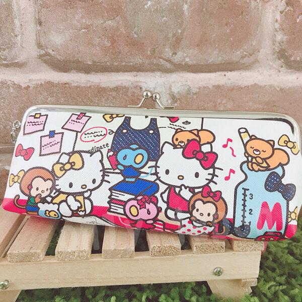 【真愛日本】18051000014珠扣橫式布筆袋-KT姊妹畫畫凱蒂貓kitty化妝包收納包珠扣筆袋