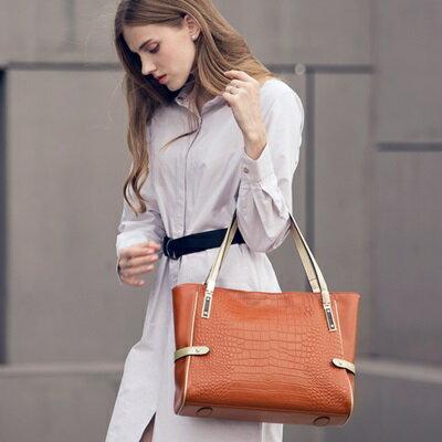手提包真皮肩背包-歐美時尚鱷魚紋托特女包4色73md75【獨家進口】【米蘭精品】