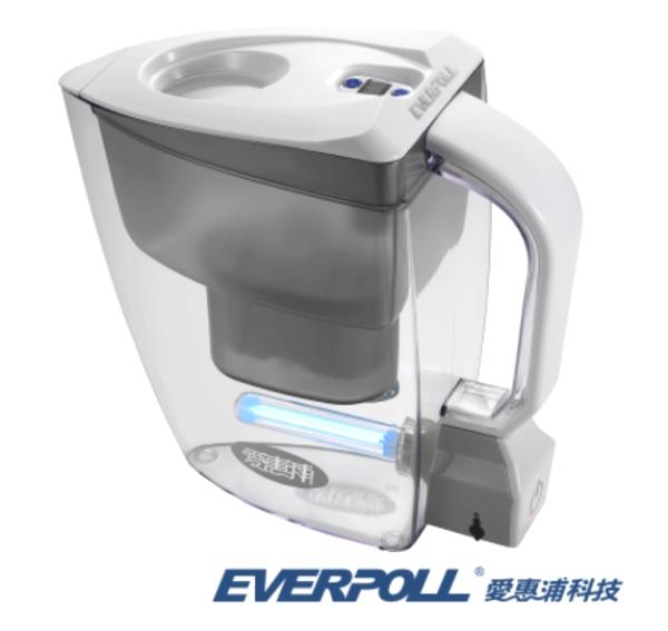 松下飲用水:新品優惠~一壺兩芯EVERPOLL淨waterUV滅菌生飲壺UV-805(白)