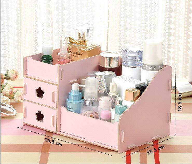化妝盒 - 韓版木質化妝品收納盒/收納箱 - 經典型(小)【Casa Mia】