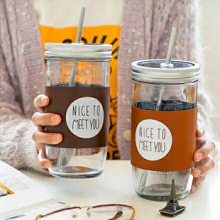 梅森瓶 - 文青風創意簡約風不銹鋼吸管玻璃杯 帶隔熱杯套