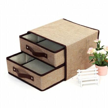收納箱系列 - 雙抽屜亞麻摺疊衣物收納箱 雜物整理箱 28*28*20cm