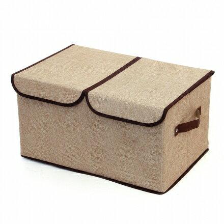 收納箱系列 - 雙蓋亞麻摺疊衣物收納箱 雜物整理箱 45*30*25cm