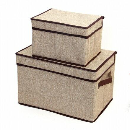 收納箱系列 - 單蓋亞麻摺疊衣物收納箱/雜物整理箱(小號 25*20*17公分 )
