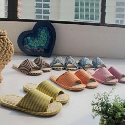 室內拖鞋 - 簡潔條紋棉麻透氣居家拖鞋 夏秋季【Casa Mia】