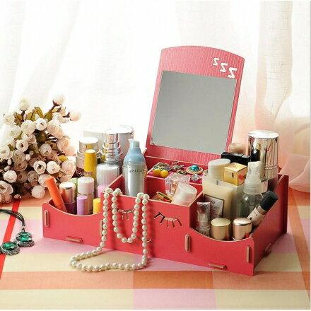 飾品盒 - 韓版翻蓋木質飾品收納箱/化妝品收納盒 - 附鏡【Casa Mia】