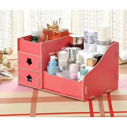 化妝盒 - 韓版木質化妝品收納盒/收納箱 經典型(中)【Casa Mia】