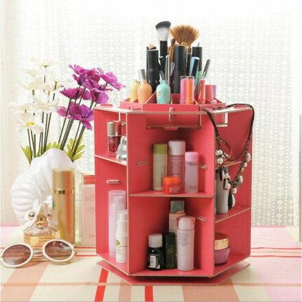 化妝盒 - 韓版360度木質旋轉化妝品收納盒/收納箱 - 極致型【Casa Mia】