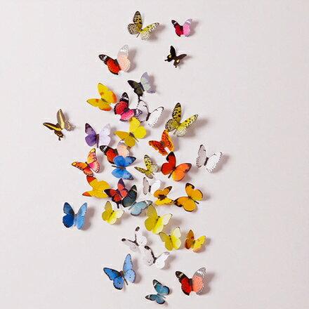 【任3件$99】壁貼-3D立體蝴蝶壁貼15枚入